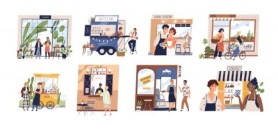 Fototapeta Set of happy cartoon diverse people work at family business vector flat illustration. Collection of owners and customers with small shop, cafe, store facades and services isolated on white