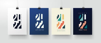 Fototapeta Set of Happy New Year posters, greeting cards, holiday covers. Merry Christmas design templates with typography, season wishes in modern minimalist style for web, social media. Vector illustration.