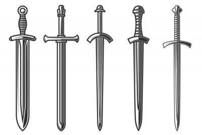 Fototapeta Set of illustrations of ancient swords in engraving style. Design element for logo, label, sign, poster, t shirt. Vector illustration