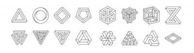 Fototapeta Set of impossible shapes. Optical Illusion. Vector Illustration isolated on white. Sacred geometry. Black lines on a white background.