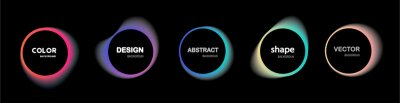 Fototapeta Set of isolated abstract aqua spot with gradient or dynamic color.Vector colorful neon templates. Circle shapes with vivid gradients. Fluid gradients for banners, Abstract liquid shape black, 3d.eps10