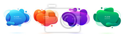 Fototapeta Set of isolated blue and red fluid blobs, gradient green and violet liquid spots. Abstract 3d brush spats for poster design or flyer background, banner template. Geometric shapes with dynamic colors