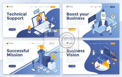 Fototapeta Set of Landing page design templates for Technical Support, Boost your Business, Successful Mission and Business Vision. Easy to edit and customize. Modern Vector illustration concepts for websites