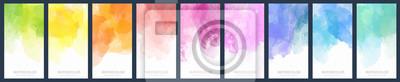Fototapeta Set of light colorful vector watercolor vertical backgrounds for poster, banner or flyer