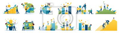 Fototapeta Set of mini business concepts of entrepreneurs. Concepts for web design
