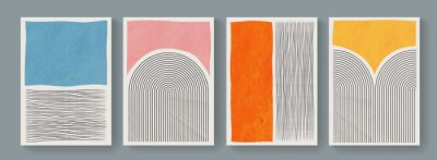Fototapeta Set of minimal geometric posters. Mid-Century Modern Art with Watercolor Shapes. Trendy artistic abstract background.