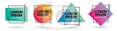 Fototapeta Set of modern abstract vector banners. Geometric shapes of different colors with black outline design - Vector