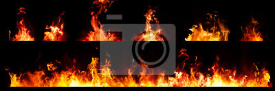 Fototapeta Set of Panorama Fire flames on black background.