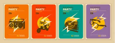 Fototapeta Set of party posters in retro style. Vector illustration.