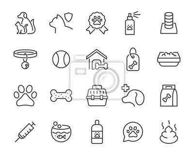 Fototapeta set of pet icons, dog, cat, puppy, animals