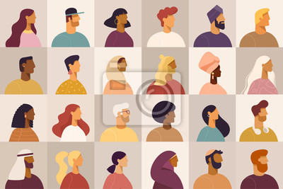 Fototapeta Set of profile portraits or heads of male and female cartoon characters. Various nationality. Blond, brunet, redhead, african american, asian, muslim, european. Set of avatars. Vector, flat design