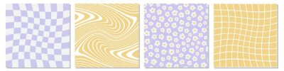 Fototapeta Set of retro 1970s style abstract backgrounds