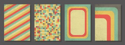 Fototapeta Set of retro covers. Cover templates in vintage design. Abstract vector background template for your design. Retro design templates set for brochures, posters, flyers, banners, covers, placards.