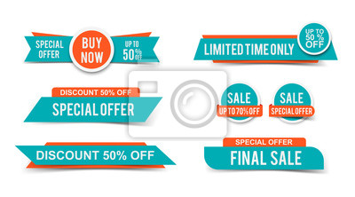 Fototapeta Set of Sale tags or banners, special offer headers, discount stickers. Vector elements for website design
