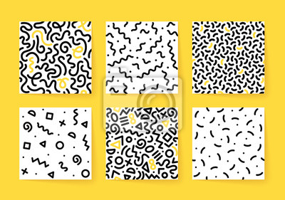 Set of seamless black and white geometric patterns. Hipster Memphis style.
