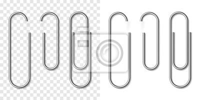 Fototapeta Set of silver metallic realistic paper clip