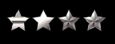 Fototapeta Set of silver stars. Silver stars isolated on black background. VIP stars.