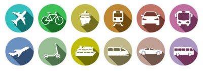 Fototapeta Set of standard transportation symbols colorful