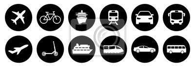 Fototapeta Set of standard transportation symbols in black circles