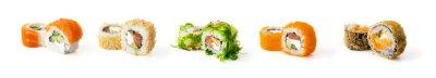 Fototapeta Set of sushi rolls isolated on white background
