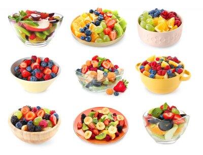Fototapeta Set of tasty fruit salads on white background