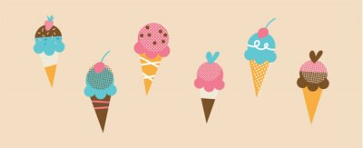 Fototapeta Set of tasty ice creams. Sweet summer delicacy sundaes, gelatos with different tasties, collection isolated ice-cream cones and popsicle with different topping. Vector illustration for web, design, pr