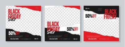 Fototapeta Set of three black friday sale social media pack template premium vector