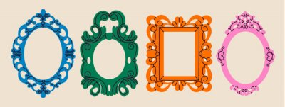 Fototapeta Set of various decorative Frames or borders. Different shapes. Photo or mirror frames. Vintage, retro design. Elegant, modern style. Hand drawn trendy Vector illustration. All elements are isolated