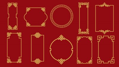 Fototapeta Set of various traditional golden china frame isolated on red background. Collection of different chinese retro border vector flat illustration. Yellow vintage decorative corner