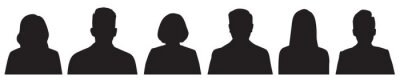 Fototapeta Set of vector avatar profile icon in silhouettes.