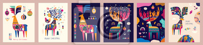 Fototapeta Set of vector Christmas illustrations with amazing deers
