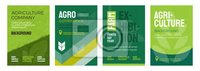 Fototapeta Set of vector illustrations with agricultural concept. Design for agro conference, farm exhibition. Group of agri poster with geometrical composition. Background for banner, flyer, layout, cover, ad.