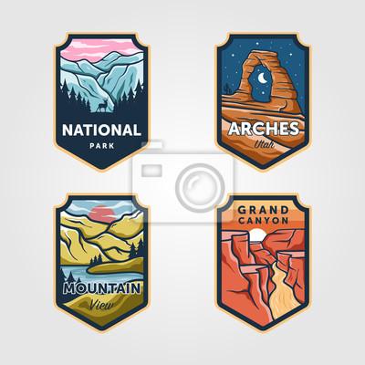 Fototapeta Set of vector national park outdoor adventure vintage logo emblem illustration designs