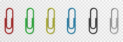 Fototapeta Set of vector paper clips on isolated transparent background. Attached paper clip. Metal paper clip png.