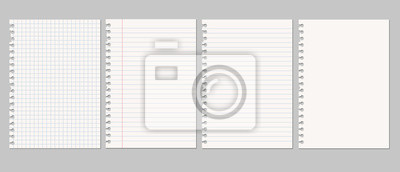 Fototapeta Set of vector realistic illustrations of a torn sheet of paper from a workbook with shadow, isolated