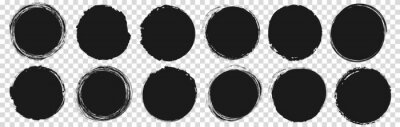Fototapeta set of vector round brush painted ink stamp circle banner on transparent background