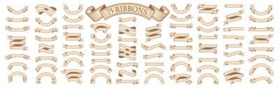 Fototapeta  Set of vintage scrolls ribbons on white. old blank banners vector illustration