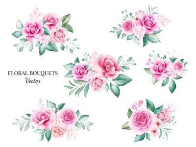 Fototapeta Set of watercolor bouquets for logo or wedding card composition. Botanic decoration illustration of peach and red roses, leaves, branches, and gold glitter