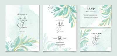 Fototapeta set of watercolor wedding invitation card templates. With beautiful green leaves botanic illustration for card composition design.