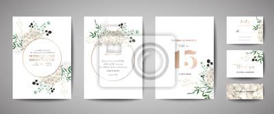 Fototapeta Set of Wedding Invitation, floral invite, thank you, rsvp rustic card design with gold foil decoration. Vector elegant modern template, trendy cover, graphic poster, retro brochure, design template