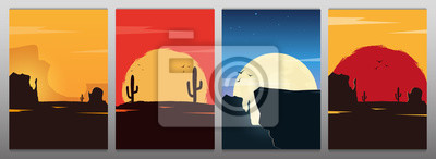 Fototapeta Set of Wild West landscapes with mountains and cactus. Sunset at the Texas. Vector illustration.