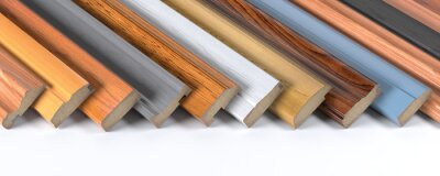 Fototapeta Set of wooden furniture CMD or MDF profiles. Smaples of baseboards from different types of wood.