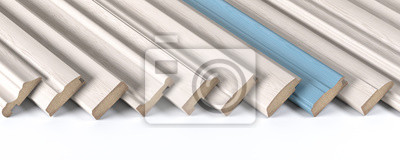 Fototapeta Set of wooden furniture CMD or MDF profiles. Smaples of white baseboards with different profile and one blue plank