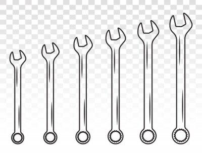 Fototapeta Set of wrench combination / spanner line art icon for apps or websites