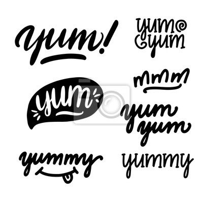 Fototapeta Set of Yum-yum inscription for stickers, advertising posters, menus and food industry. Symbol of delicious food