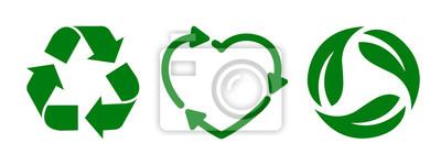 Fototapeta Set recycle icon sign – stock vector