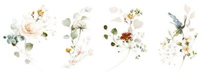 Fototapeta Set watercolor arrangements with garden plant. collection pink, yellow flowers, leaves, branches. Botanic illustration isolated on white background.