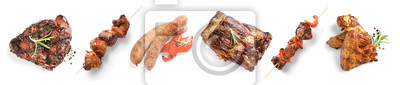 Fototapeta Set with delicious meat on white background, top view. Barbecue recipes
