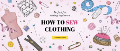 Fototapeta Sewing course for beginners banner template. Hand drawn illustration of sewing tools