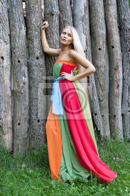 3c5d85e0b6 Fototapeta Sexy kobieta z zewnątrz ładne kolorowe sukienki na wymiar ...
